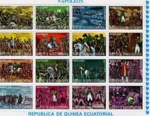 Equatorial Guinea 1977 Napoleon Battle Sheet (16) Perforated mnh.vf