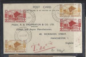 NEW HEBRIDES FRENCH  (P2710B) 1953 PC TO ENGLAND SHORT PAID TAXED