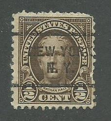 1929 USA New York, NY  Precancel on Scott Catalog Number 653