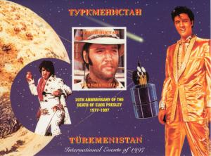 Turkmenistan 1997 Elvis Presley/Halley's Comet S/S IMPERFORATED MNH