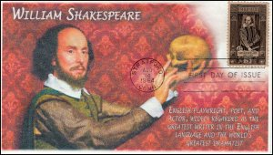 AO-1250, 1964, William Shakespeare, Add-on Cachet, First Day Cover, SC 1250