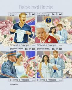 SAO TOME - 2019 - Royal Baby, Archie Mountbatten Windsor - Perf 4v Sheet - MNH
