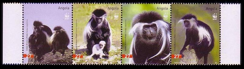 Angola WWF Black-and-white Colobus Strip of 4v SG#1717-1720 SC#1279 a-d