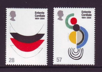 Great Britain Sc 2200-01 2004 Entente Cordiale stamp set mint NH