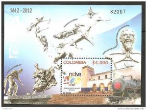 RO) 2012 COLOMBIA, TRAIN RAILROAD STATION, MONUMENTS LA BAMBUQUERA-LA GAITANA-DO