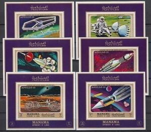 Manama, Mi cat. 291-296 C. Apollo 13 & Future Exploration issue as s/sheets.