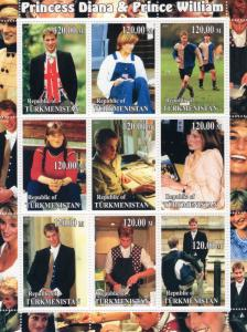 Turkmenistan 2001 Princess Diana & Prince William Shlt (9) MNH VF
