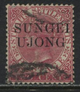 Sungei Ujong 1885 overprint on Straits Settlements 2 cents rose used