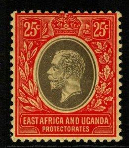 KENYA, UGANDA & TANGANYIKA SG50a 1914 25c BLACK & RED/YELLOW WHITE BACK MTD MINT
