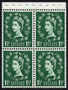 SB67 1 1/2d Wmk Crowns Upright Cream Paper Booklet Pane of 4 U/M