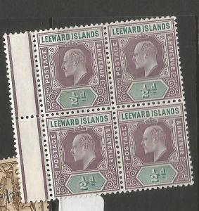 Leeward Islands SG 20 CA Block of 4 MNH (11cpq)
