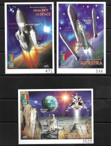 2000   BHUTAN  -  SG.  MS  1591  (3 MINISHEETS)   -  SPACE  -  MNH