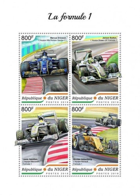 Niger - 2018 Formula 1 Racing - 4 Stamp Sheet - NIG18416a