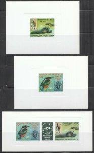 F1014 1978 UPPER VOLTA ANIMALS BIRDS STAMPS ON STAMPS !!! RARE CARDBOARD 3BL MNH