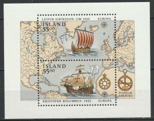 Iceland 1992 CEPT Europa, Ships MNH Block