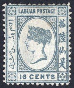 Labuan 1886 16c Grey WMK Crown CA SG 33 Scott 23 UN Cat £160($200)