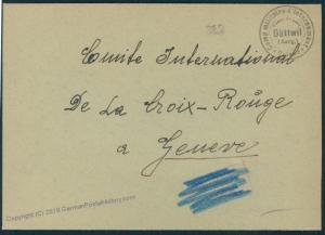 Switzerland WWII Internee Camp Daetwill Prisoner Cover Censored 53840