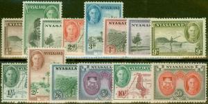 Nyasaland 1945 set of 14 SG144-157 Fine Very Lightly Mtd Mint
