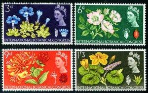 HERRICKSTAMP GREAT BRITAIN Sc.# 414-17 1964 Botanical Mint LH