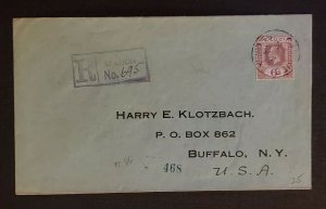 1924 Kingstown St Lucia Registered Cover to Buffalo NY Via New York City Cover