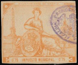 ESPAGNE / SPAIN / ESPAÑA Fiscales - IMPUESTO MUNICIPAL MADRID 0P75 - Usado