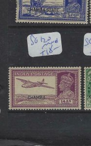 INDIA CHAMBA (P2012B)  KGVI  14A  AIRPLANE   SG 120   MNH