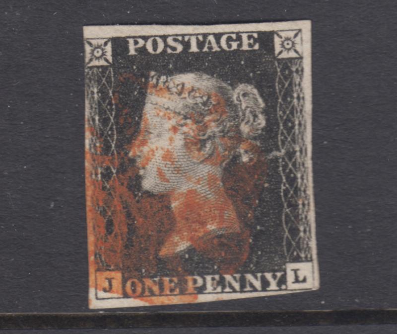 Great Britain Sc 1 used. 1840 Penny Black, corner letters J-L, sound, F-VF