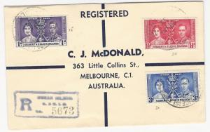 Gilbert and Ellice, Scott #37-39, Used on Registered Cover, Sent to Australia