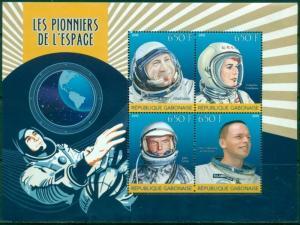 GABON SHEET SPACE COSMONAUTS GLENN TERECHKOVA ARMSTRONG LEONOV