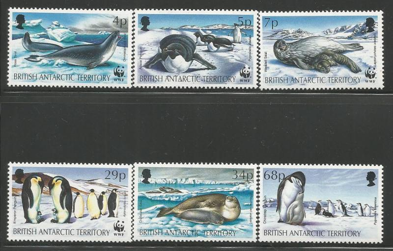 BRITISH ANTARCTIC TERRITORY 192-197 MNH SEALS AND PENGUINS SET 1992