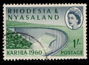 RHODESIA & NYASALAND QEII SG34, 1s slate-blue & green, FINE USED.