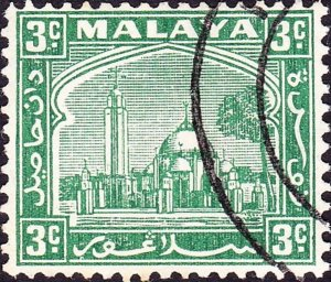 MALAYA SELANGOR 1941 3c Green SG71a Used