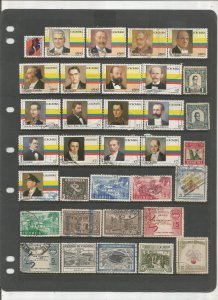 COLOMBIA COLLECTION ON STOCK SHEET, MINT/USED