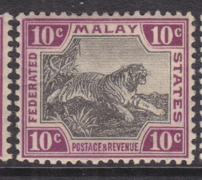 FEDERATED MALAY STATES, 1905 Mult. CA, 10c. Black & Purple, lhm.