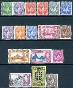 ST LUCIA-1938-48 Set to £1 Sg 128a-141 LIGHTLY MOUNTED MINT V19037