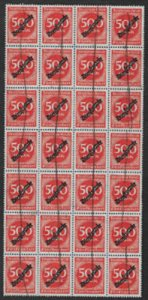 Germany, SC O28, sheet of 28 used stamps, hinged, some OG