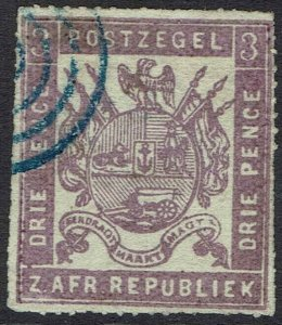 TRANSVAAL 1871 ARMS 3D ROULETTED USED