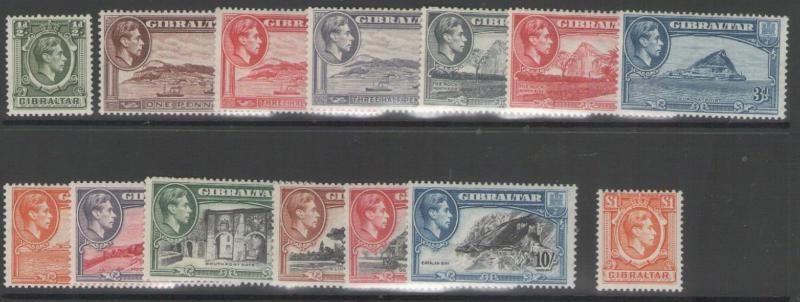 GIBRALTAR SG121/31 1938-51 DEFINITIVE SET MTD MINT