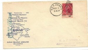 USS OMAHA CL-4 1932 Naval Cachet Cover With Front Mail Clerk & Back Hawaii Stamp