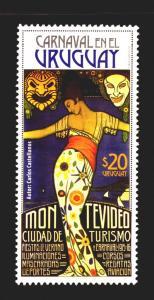 2016 ART DECO WOMAN SUN MOON MASK MUSIC CARNIVAL GRAPHIC ART URUGUAY MNH STAMP