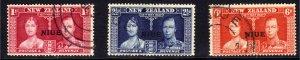 Niue 1937 KGV1 Set Coronation Used SG 72 – 74 ( J216 )