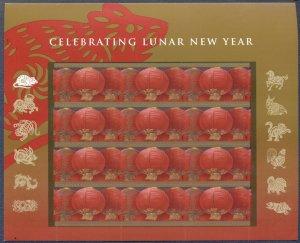 US 2008 LUNAR NEW YEAR - RAT, LANTERNS: MNH Sheet of 12, 41 Cent Values, Sc 4221