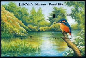 [79003] Jersey 2001 Birds Vögel Oiseaux Kingfisher Souvenir Sheet MNH