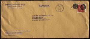 CANADA 1952 4c OHMS on cover to New Zealand, Mute Cancels etc..............99104