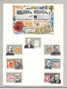 Antigua #1663-1669 Stamp Dealers, SOS 6v & 1v S/S Imperf Proofs in Folder