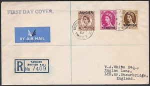 MOROCCO AGENCIES 1953 Tangier opts - 3 values on registered FDC.............H902