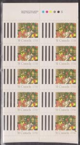 Canada -1987 Christmas Gifts Imprint Pane of 10 VF-NH #1151a