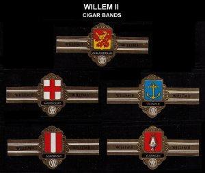 WILLEM II CIGARS, SET OF 5 DIFF OLD CIGAR BANDS UNUSED, TOBACCO CINDERELLA