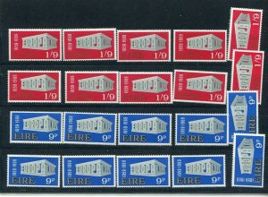 D093727 Europa CEPT 1969 Buildings Wholesale 10 Series MNH Ireland