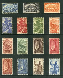 FRENCH EQUATORIAL AFRICA 166-180 MNH SHORT SET  SCV $14.00 BIN $7.75